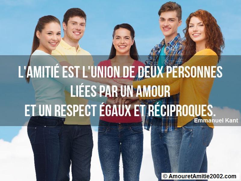 l'amitié est l'union de deux personnes liées par un amour