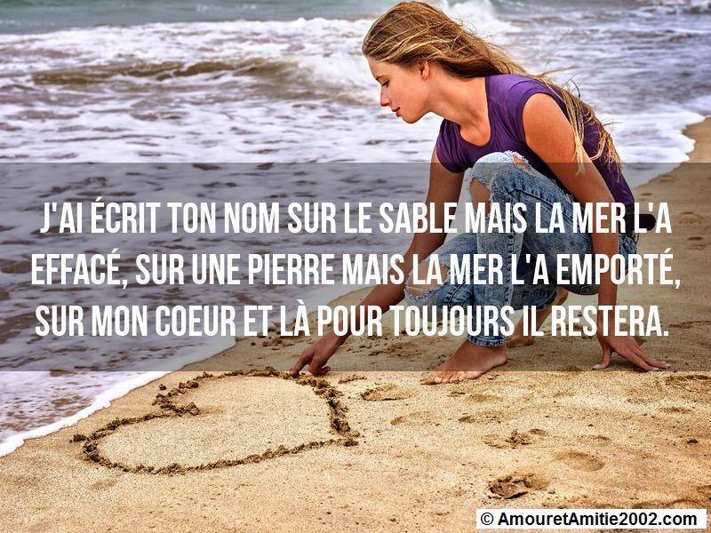 j'ai écrit ton nom sur le sable
