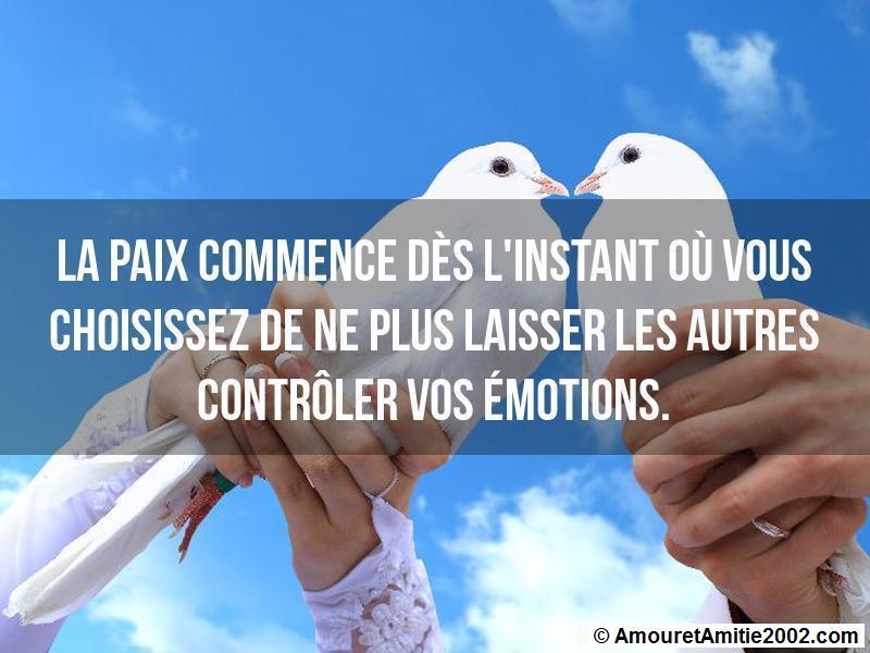 la paix commence dès l'instant où vous choisissez de ne plus laisser les autres contrôler vos émotions
