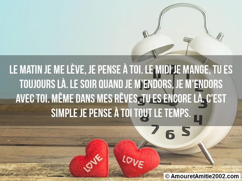 Message Amour Le Matin Je Me Lève Je Pense à Toi