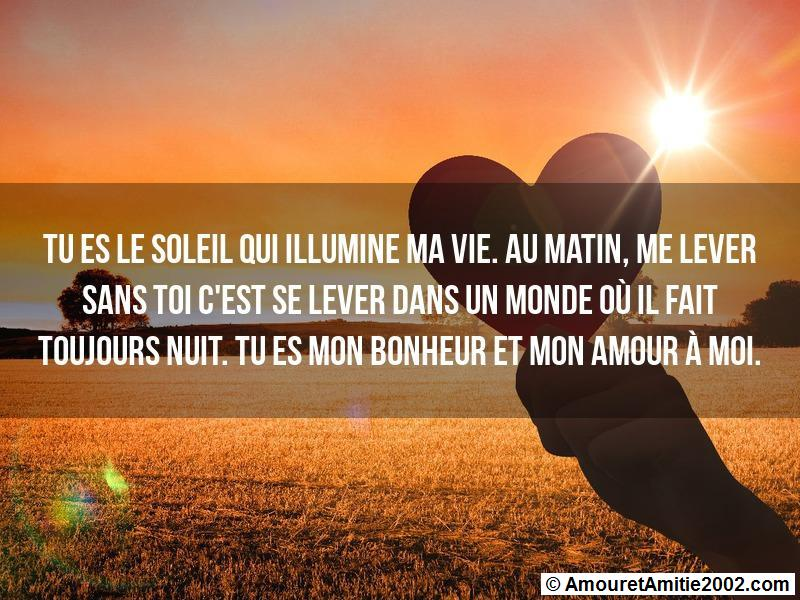 Message Amour Tu Es Le Soleil Qui Illumine Ma Vie