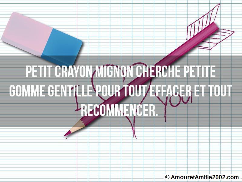 Sms Amour Petit Crayon Mignon Cherche Petite Gomme