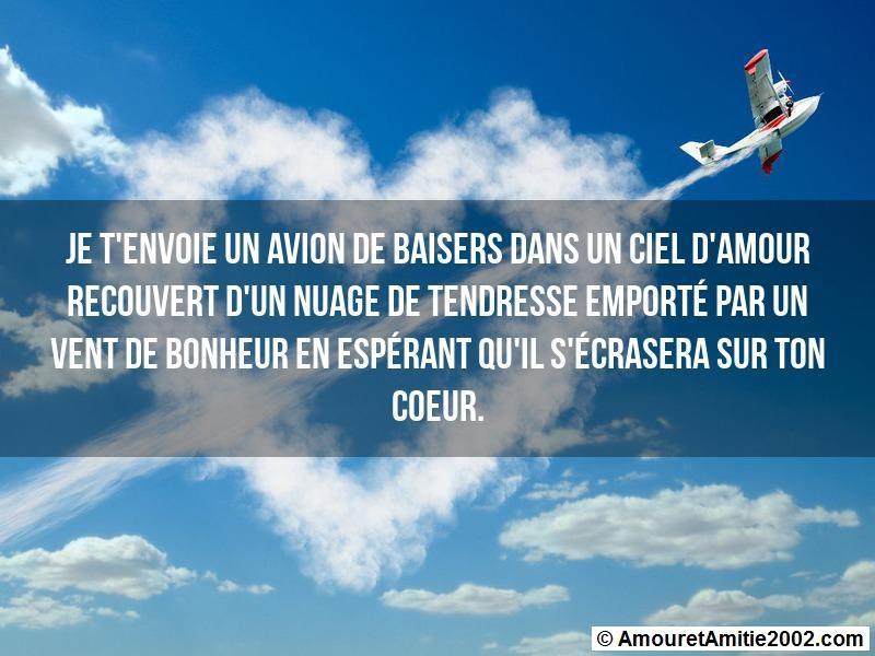 Sms Amour Je Tenvoie Un Avion De Baisers Dans Un Ciel Damour