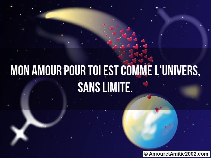 mon amour pour toi est comme l'univers, sans limite